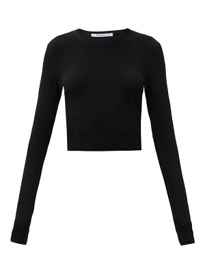 Another Tomorrow long-sleeved knitted cropped top