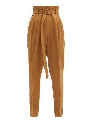Another Tomorrow paperbag-waist pleated linen-blend trousers