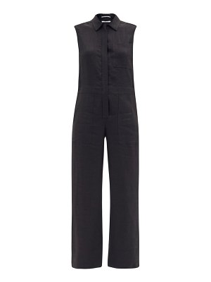 Another Tomorrow patch-pocket linen-blend straight-leg jumpsuit