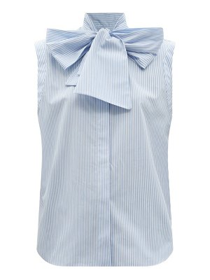 Another Tomorrow pussy-bow striped cotton-poplin top