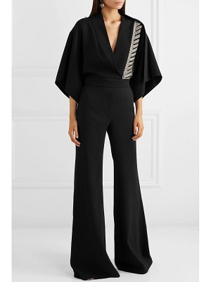 Antonio Berardi crystal-embellished cape-effect crepe jumpsuit