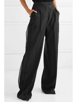 Antonio Berardi niko silk georgette-trimmed wool wide-leg pants