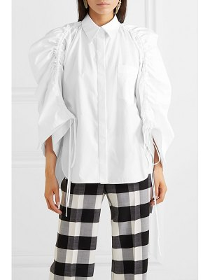 Antonio Berardi oversized ruffled ruched cotton-poplin shirt