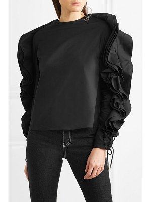 Antonio Berardi ruffled lace-up cotton-blend poplin blouse
