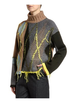 Antonio Marras Argyle Ribbed Mock-Neck Sweater