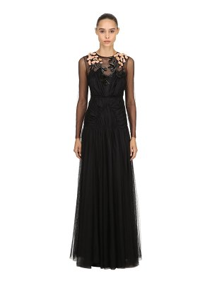 Antonio Marras Floral embellished tulle long dress