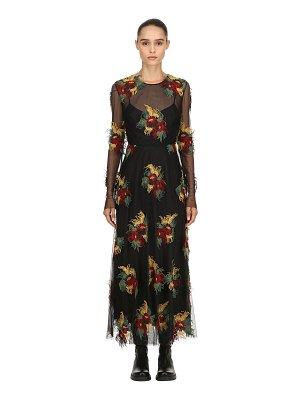 Antonio Marras Floral embroidered mesh dress