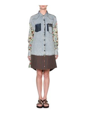 Antonio Marras Floral-Sleeve Denim Shirtdress