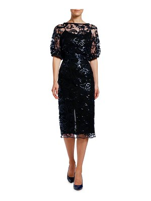 Antonio Marras Sequined Lace Puff-Sleeve Dress