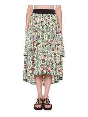 Antonio Marras Tiered Floral Midi Skirt with Pockets