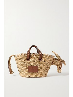Anya Hindmarch basket donkey leather-trimmed woven raffia tote