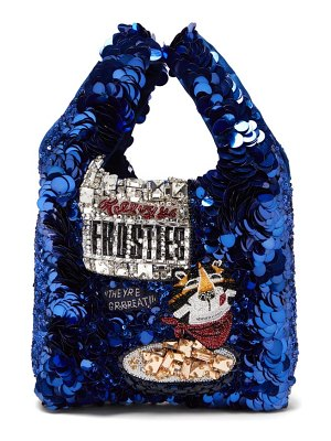 Anya Hindmarch frosties sequinned recycled-satin tote bag