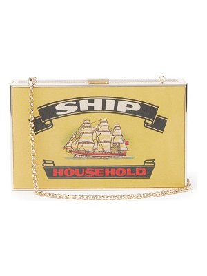 Anya Hindmarch imperial ships matchbox print leather clutch