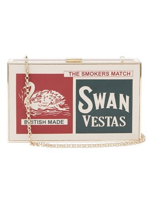 Anya Hindmarch imperial swan matchbox print leather clutch