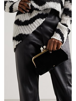 Anya Hindmarch maud faux pearl-embellished velvet clutch