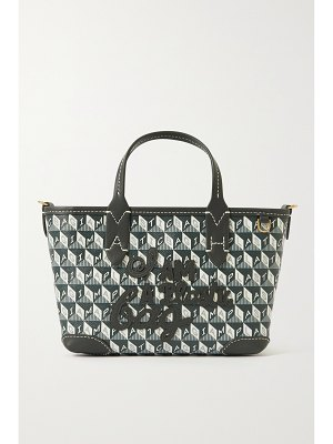 Anya Hindmarch + net sustain i am a plastic bag mini leather-trimmed printed coated-canvas tote