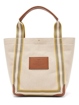Anya Hindmarch pont small leather-trimmed canvas tote bag