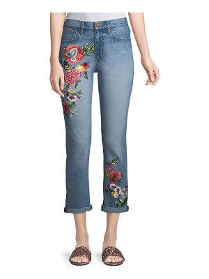 AO.LA Amazing Floral-Embroidered High-Rise Straight-Leg Jeans