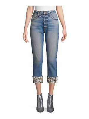 AO.LA by alice + olivia amazing high-rise embellished hem jeans