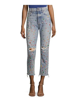 AO.LA by alice + olivia amazing high-rise distressed grommet jeans