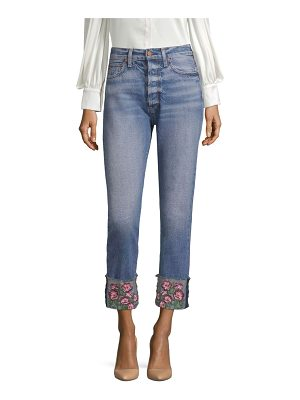 AO.LA by alice + olivia amazing high-rise embroidered girlfriend jeans