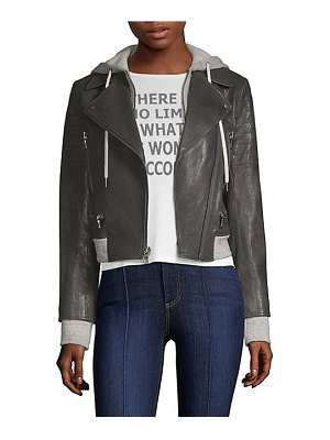 AO.LA by alice + olivia avril hooded leather moto jacket