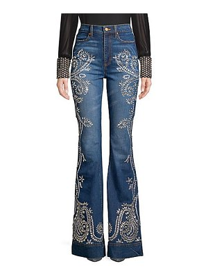 AO.LA by alice + olivia beautiful high-rise embellished flared jeans