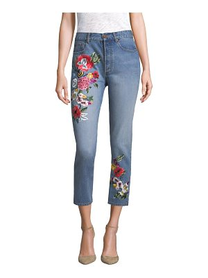 AO.LA by alice + olivia embroidered high-rise slim-fit jeans