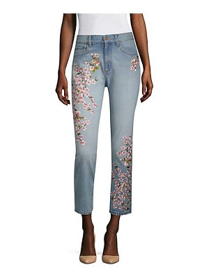 AO.LA by alice + olivia high-rise embroidered ankle jeans