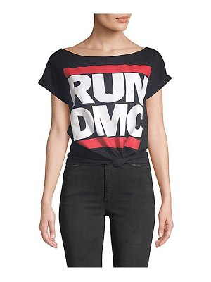 AO.LA by alice + olivia rizo run dmc roll sleeve tie-front graphic tee