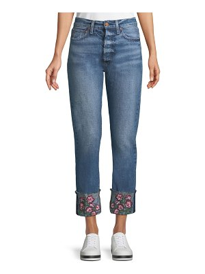 AO.LA by Alice+Olivia Amazing Cropped Embroidered Straight Jeans