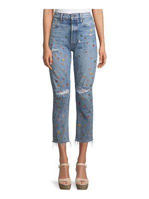 AO.LA by Alice+Olivia Amazing Embellished High-Rise Cropped Jeans