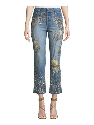 AO.LA by Alice+Olivia Amazing Embellished Ripped High-Rise Boyfriend Jeans