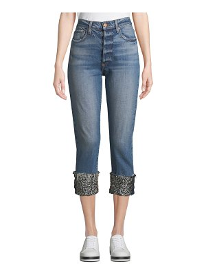 AO.LA by Alice+Olivia Amazing High-Rise Girlfriend Jeans with Cuffs