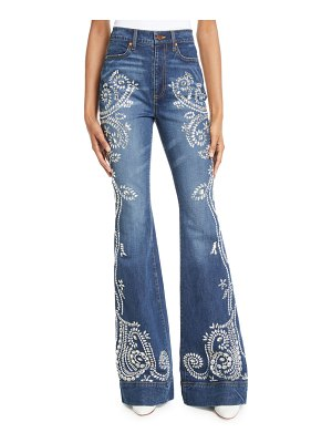 AO.LA by Alice+Olivia Beautiful Embellished High-Rise Bell-Bottom Jeans