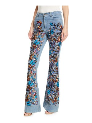 AO.LA by Alice+Olivia Beautiful Embroidered High-Rise Bell-Bottom Jeans