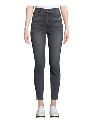 AO.LA by Alice+Olivia Good High-Rise Exposed Button Skinny Jeans with Stripes