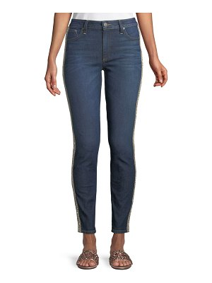 AO.LA by Alice+Olivia Good Mid-Rise Skinny Jeans with Crystal Stripes