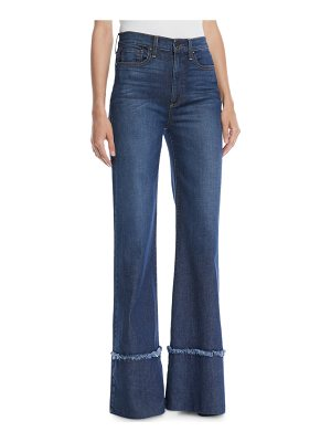 AO.LA by Alice+Olivia Gorgeous High-Rise Wide-Leg Jeans with Exaggerated Hem