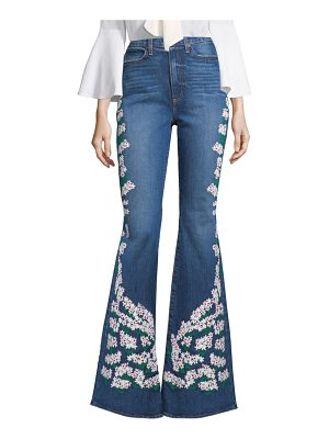 AO.LA by alice + olivia floral embroidered bell-leg jeans