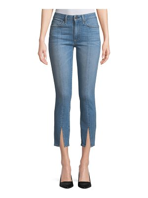 AO.LA by Alice+Olivia Good Mid-Rise Straight-Leg Ankle Jeans w/ Front Slit