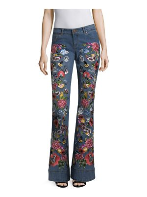 AO.LA by alice + olivia ryley embroidered low-rise bell bottom jeans