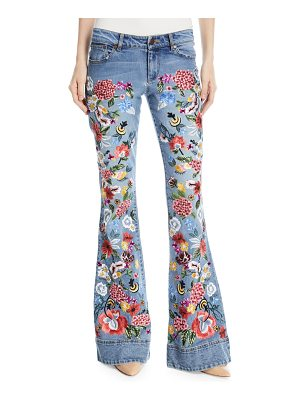 AO.LA by Alice+Olivia Ryley Floral-Embroidered Low-Rise Bell Jeans