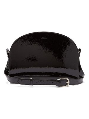 A.P.C. A.p.c. - Half Moon Crinkled Patent Leather Cross Body Bag