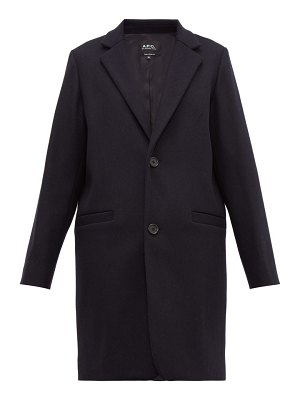A.P.C. carver single breasted felted wool blend overcoat