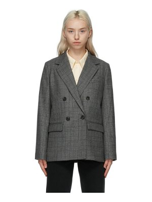 A.P.C. grey check prune blazer