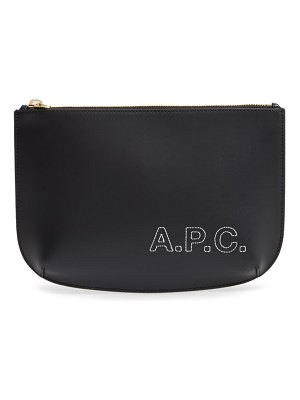 A.P.C. sarah embroidered logo leather clutch