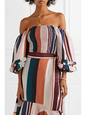 APIECE APART laguna cropped off-the-shoulder striped linen and silk-blend top