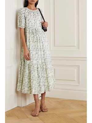 APIECE APART simone tiered floral-print organic cotton midi dress - off-white
