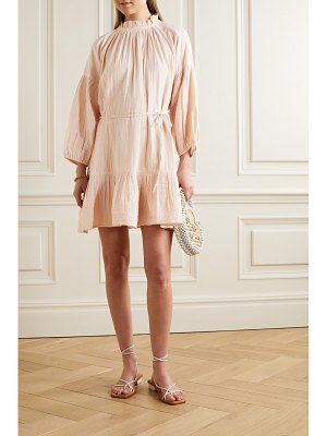 APIECE APART victoria belted gathered ruffled cotton-gauze mini dress